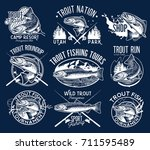 set of vector fishing emblem... | Shutterstock .eps vector #711595489