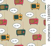 vintage radio with speech...   Shutterstock .eps vector #711600070