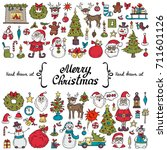 vector set with hand drawn... | Shutterstock .eps vector #711601126