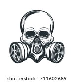 Skull In Gas Mask Illustration...