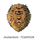 lion head illustration. can be... | Shutterstock .eps vector #711605128