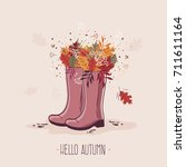 autumn greeting card with... | Shutterstock .eps vector #711611164