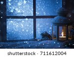 winter decoration with a... | Shutterstock . vector #711612004