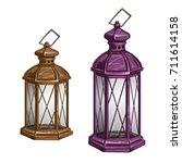vintage candle light lantern... | Shutterstock .eps vector #711614158