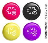 puzzle multi color glossy badge ...