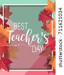 happy teacher's day   unique... | Shutterstock .eps vector #711621034
