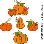 a set of pumpkins in various... | Shutterstock .eps vector #711634018