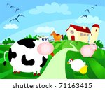 beautiful farm surrounded by... | Shutterstock .eps vector #71163415