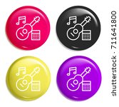 guitar multi color glossy badge ...