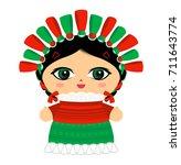 mexican doll vector illustration | Shutterstock .eps vector #711643774