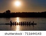 silhouette of a dragon boat... | Shutterstock . vector #711644143
