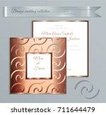 luxury bronze shiny wedding...   Shutterstock .eps vector #711644479