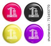 crane multi color glossy badge... | Shutterstock .eps vector #711653770