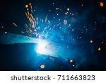 artistic welding sparks light ... | Shutterstock . vector #711663823
