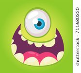 cartoon monster face. vector... | Shutterstock .eps vector #711680320