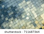 small mirror decorated on wall... | Shutterstock . vector #711687364