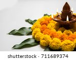 flower rangoli for diwali or... | Shutterstock . vector #711689374