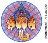 hindu lord ganesha over ornate... | Shutterstock .eps vector #711689920