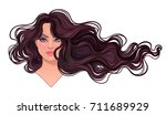 beautiful brunette woman with... | Shutterstock .eps vector #711689929