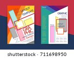 abstract paper cut brochure... | Shutterstock .eps vector #711698950
