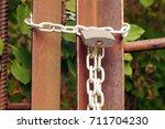 padlock on the metal chain ... | Shutterstock . vector #711704230