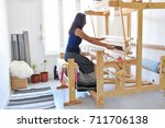an asian women do hand woven in ... | Shutterstock . vector #711706138