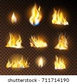 vector set of realistic flame... | Shutterstock .eps vector #711714190