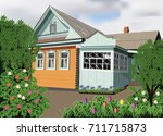 little old house in the village | Shutterstock .eps vector #711715873