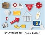 paper art of  icons of e... | Shutterstock .eps vector #711716014