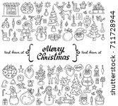 vector set with hand drawn... | Shutterstock .eps vector #711728944