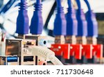 close up of rj45 utp lan cable... | Shutterstock . vector #711730648
