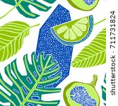 tropical fruits pattern design | Shutterstock .eps vector #711731824