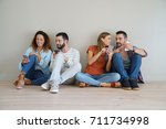 group of friends using... | Shutterstock . vector #711734998