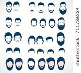 hipster vector set  hair and... | Shutterstock .eps vector #711736234