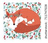 vintage cute lovely mother fox... | Shutterstock .eps vector #711747028