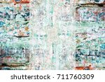 old grunge weathered wall... | Shutterstock . vector #711760309