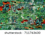 old grunge weathered wall... | Shutterstock . vector #711763630