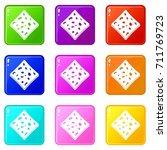 tofu fresh block icons of 9... | Shutterstock . vector #711769723