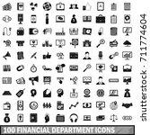 100 financial department icons... | Shutterstock . vector #711774604