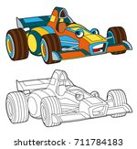 coloring page   isolated racing ... | Shutterstock . vector #711784183