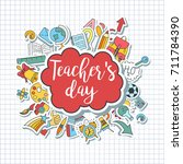 happy teacher's day   unique... | Shutterstock .eps vector #711784390