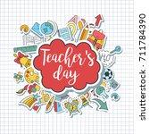 happy teacher's day   unique... | Shutterstock .eps vector #711784390