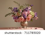bouquet of english roses  sweet ... | Shutterstock . vector #711785020