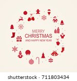 christmas and new year frame... | Shutterstock .eps vector #711803434