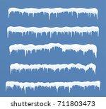 set of long ice caps.... | Shutterstock .eps vector #711803473