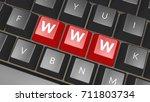 word www on black keyboard.... | Shutterstock . vector #711803734