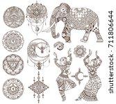 dancers  elephant  mandalas ...   Shutterstock .eps vector #711806644