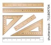 wooden rulers set vector.... | Shutterstock .eps vector #711809704