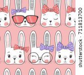 seamless pattern with cute... | Shutterstock .eps vector #711813700