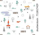scandinavian geometric seamless ... | Shutterstock .eps vector #711817429